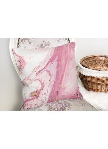 Real Homes Pembe Beyaz Mermer Desenli Dijital Baskılı Yastık Kırlent Kılıfı Renkli